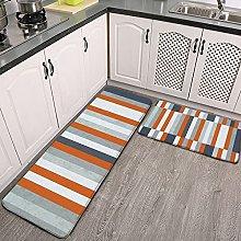 Reebos 2 Pcs Kitchen Rug Set, stripes abstract