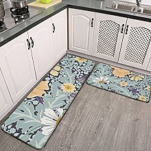 Reebos 2 Pcs Kitchen Rug Set, Sunny Garden With