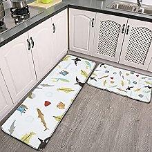 Reebos 2 Pcs Kitchen Rug Set, The Life Aquatic