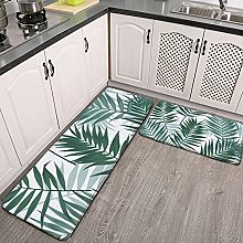 Reebos 2 Pcs Kitchen Rug Set, Tropical jungle with