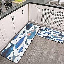 Reebos 2 Pcs Kitchen Rug Set, Watercolor sea with