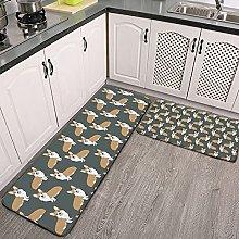 Reebos 2 Pcs Kitchen Rug Set, Welsh Corgi dog cute