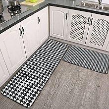 Reebos 2 Pcs Kitchen Rug Set, White Houndstooth