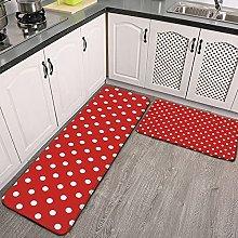 Reebos 2 Pcs Kitchen Rug Set, white red navy
