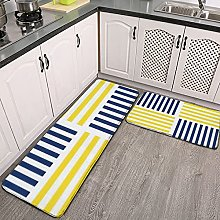 Reebos 2 Pcs Kitchen Rug Set, Yellow and Navy Blue