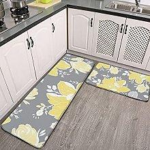 Reebos 2 Pcs Kitchen Rug Set, Yellow Gray White