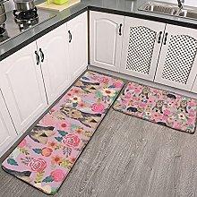Reebos 2 Pcs Kitchen Rug Set, Yorkie Terrier