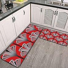 Reebos 2 Pieces Kitchen Mat Rug Flannel Non-Slip