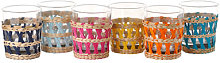 Reed Water glass - / Set of 6 - Glass & Wicker by