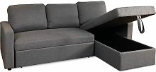 Reegan L Shaped Corner Sofa Bed in Grey, with