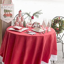 Ref 6021 Round Christmas Tablecloth Red and White