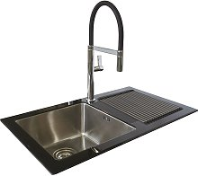Reflection Glass Kitchen Sink RHD Black Single