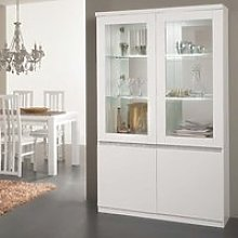Regal Display Cabinet In White Gloss Lacquer