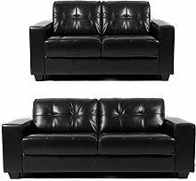 Regatta - New Black Leather Sofa Suite Bonded
