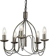 Regency - 5 Light Chandelier Antique Silver, E14 -
