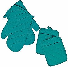 Regent 2 Pot Holders and 2 Oven Mitts (Turquoise)