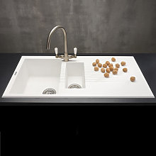 Reginox Tekno White Granite 1.5 Bowl Inset Kitchen
