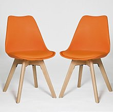 Regis Dining Chair In Orange With Wooden Legs In A