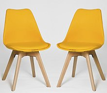 Regis Dining Chair In Yellow With Wooden Legs In A