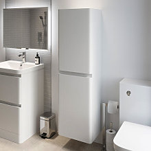 Regis White Gloss Wall Hung Tall Bathroom Cabinet