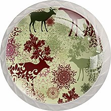 Reindeer with Mandala Floral 4 PCS Crystal Clear