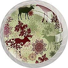 Reindeer with Mandala Floral, 4 Pcs of Morden