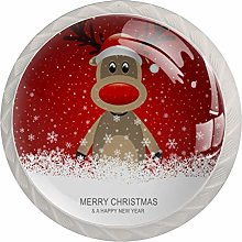 Reindeer with Red Hat Brown 4 Pack Round Drawer