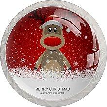 Reindeer with red hat Brown, Modern Minimalist