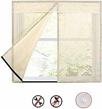 Reinforced Magnetic Window Screen Curtain,Beige