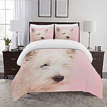 REIOIYE Duvet Cover Set-Bedding,Pink Dog West