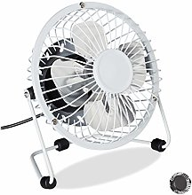 Relaxdays 1 x Desk Fan with USB Cable Mini Fan for