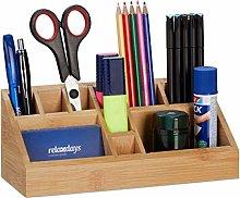 Relaxdays 1 x Square Bamboo Desk Organiser Pen
