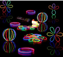 Relaxdays 100 Pack of Glow Sticks, Connector