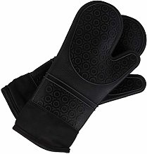 Relaxdays 10027241_46, Black Oven Gloves Silicone,