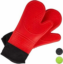 Relaxdays 10027241_47, Red Oven Gloves Silicone,