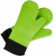 Relaxdays 10027241_53, Green Oven Gloves Silicone,