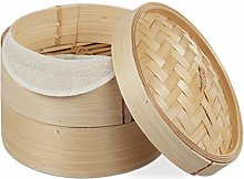 Relaxdays 10027850 Bamboo Steamer Basket, 2 Tiers,