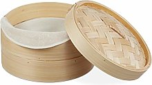 Relaxdays 10027851 Bamboo Steamer Basket, 2 Tiers,
