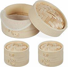 Relaxdays 10027887 Bamboo Steamer Basket, Set of