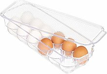 Relaxdays 10027910 Egg Holder, 12 Pieces, Box for Fridge, with Lid, Stackable, Plastic, Transparent, PS