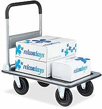 Relaxdays 10029572, Black Transport Cart, Foldable