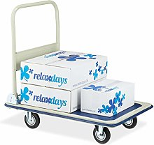Relaxdays 10029573, Blue Transport Cart, Foldable
