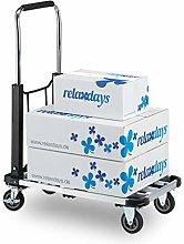 Relaxdays 10029574, Black Platform Truck, Folding
