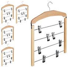 Relaxdays - 5 x Multiple Trouser Hanger, Wooden