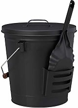 Relaxdays Ash Bucket with Lid and Shovel, Steel,