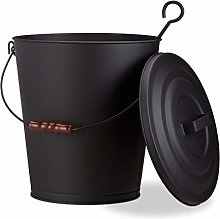 Relaxdays Ash Bucket with Lid, Steel 24 L Charcoal