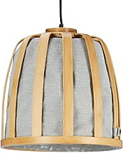Relaxdays Bamboo Basket Pendant Light with Fabric