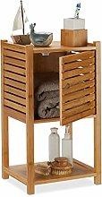 Relaxdays Bamboo Bathroom Cabinet, 2 Tiers, 1 Door