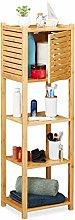 Relaxdays Bamboo Bathroom Cabinet, 4 Shelves, 1