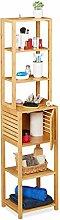 Relaxdays Bamboo Bathroom Cabinet, 5 Shelves, 1